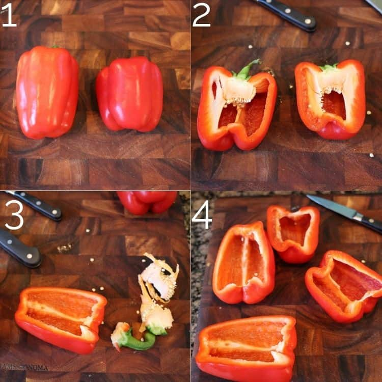 steps removing seeds out of a bell pepper