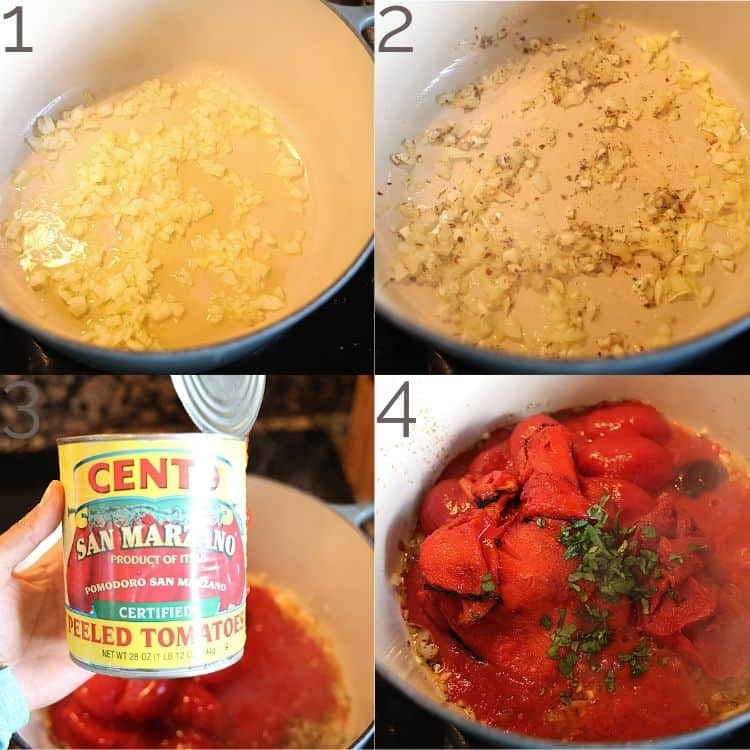 onion, garlic, and san marzano tomatoes in dutch oven