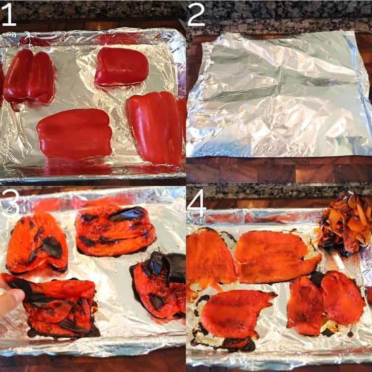 roasted red bell peppers and removing burnt skin off