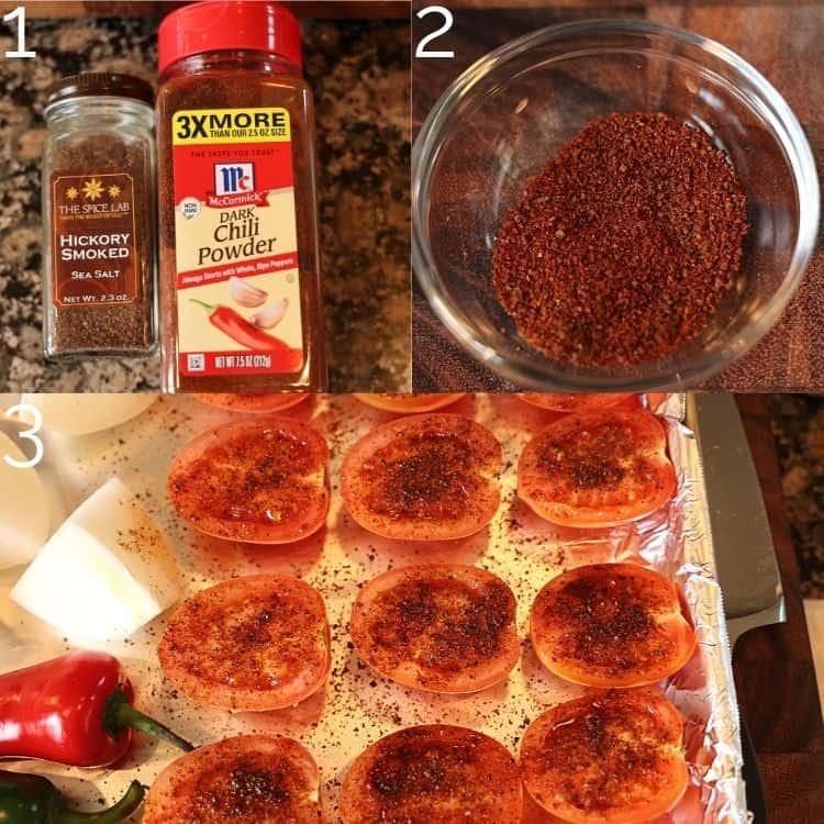 seasoning tomatoes with chili powder and smoked sea salt