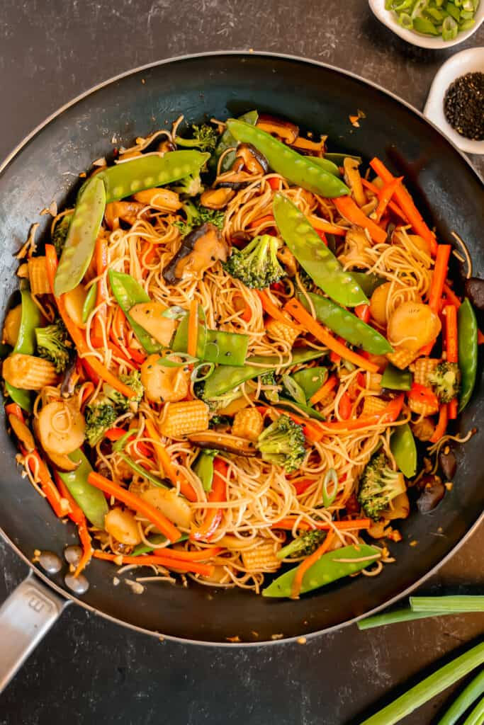 wok filled with vegetable lo mein