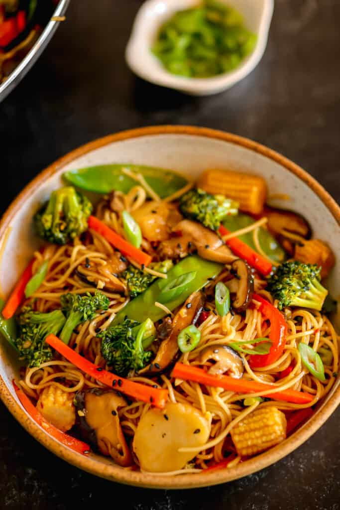 close up of vegetable lo mein in a bowl