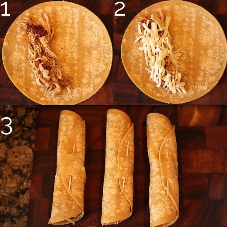 rolling chicken taquitos and inserting toothpicks