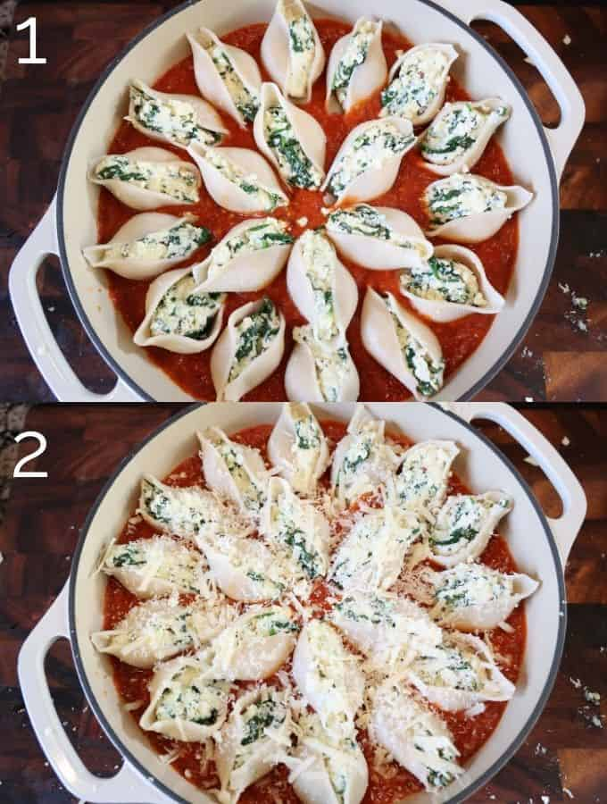 stuffed shells in red sauce pre-oven