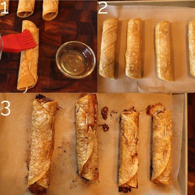 brushing taquitos with oil and placing on a baking sheet