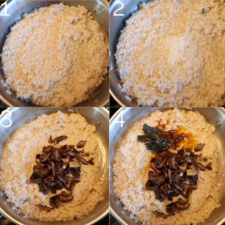 adding mushrooms and parmesan to risotto