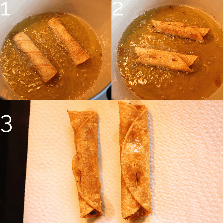 frying taquitos in oil in a large dutch oven