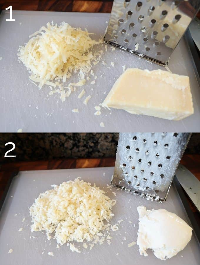 shredded cheese on a box cheese grater