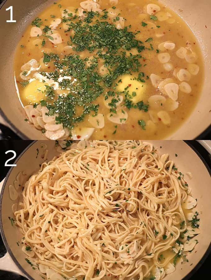 linguine added to clam sauce