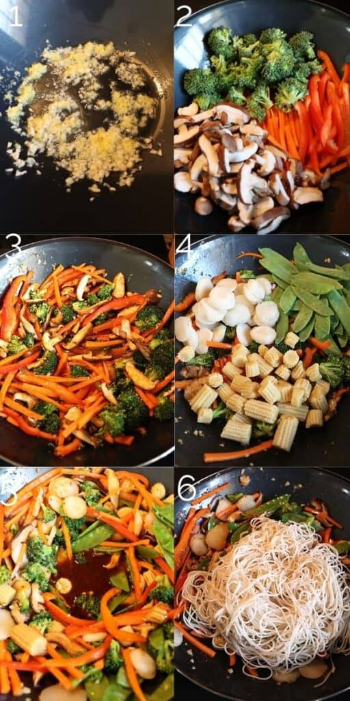 steps of veggies being stir fried in wok