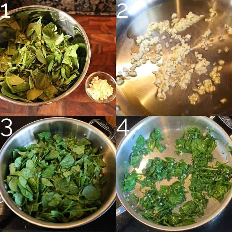 cooking spinach and garlic in a skillet