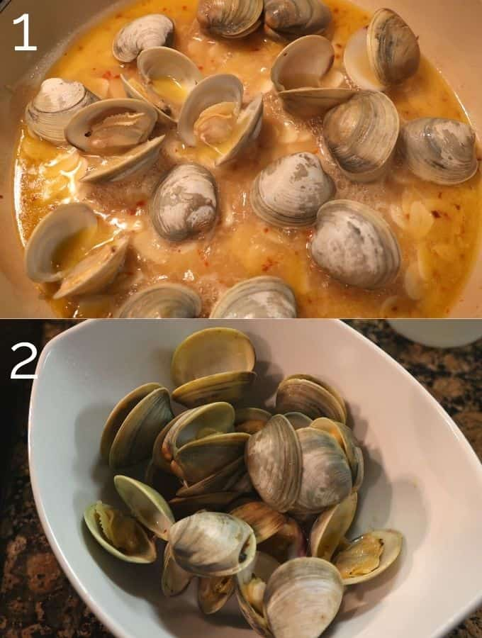 clams steaming open in the pan