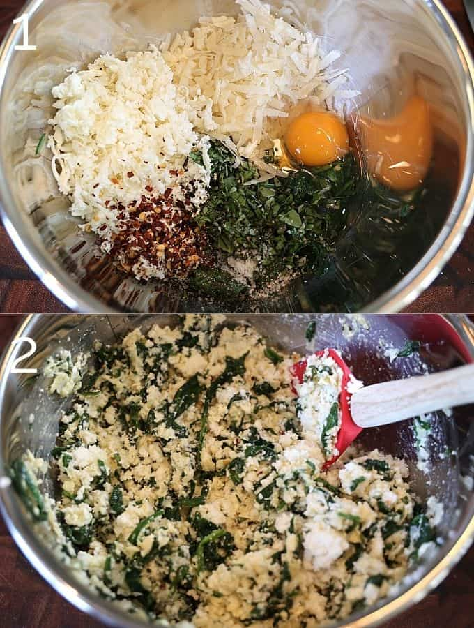 mozzarella, parmesan, ricotta, egg being mixed in a bowl