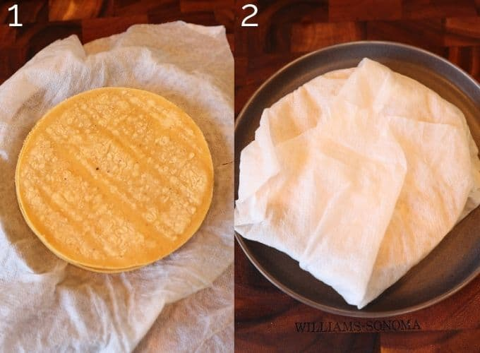 corn tortillas wrapped in a damp paper towel
