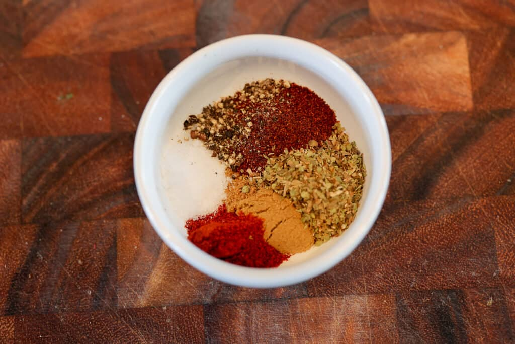 carne asada spices in a white bowl