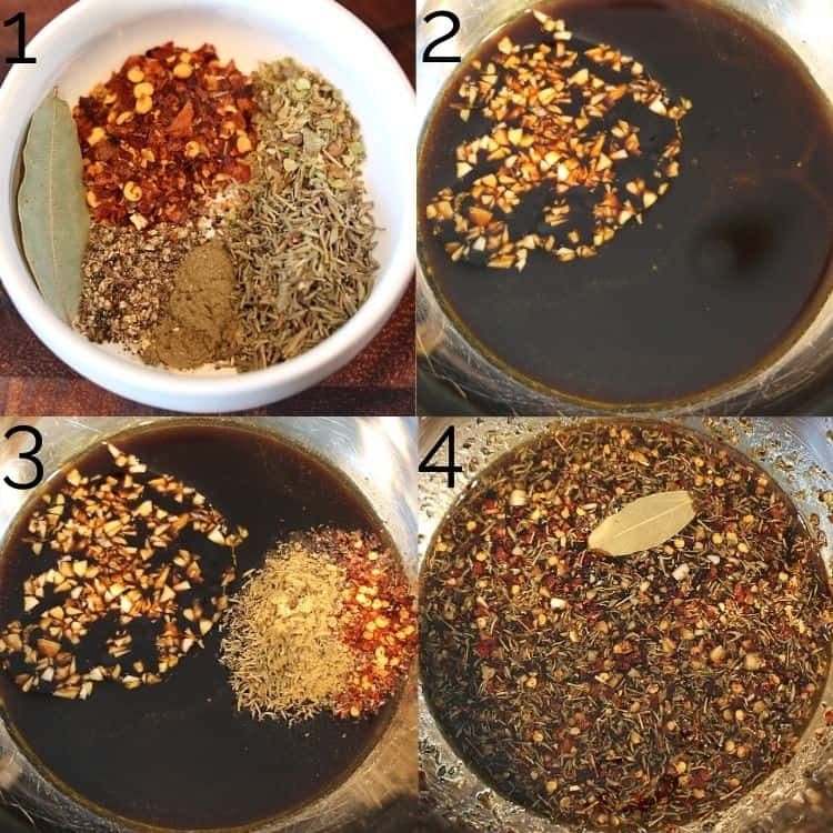dry herbs being whisked in soy sauce and honey in a metal bowl