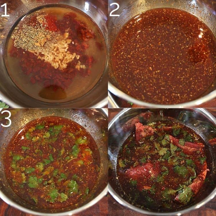 carne asada marinade in a silver bowl with skirt steak inside