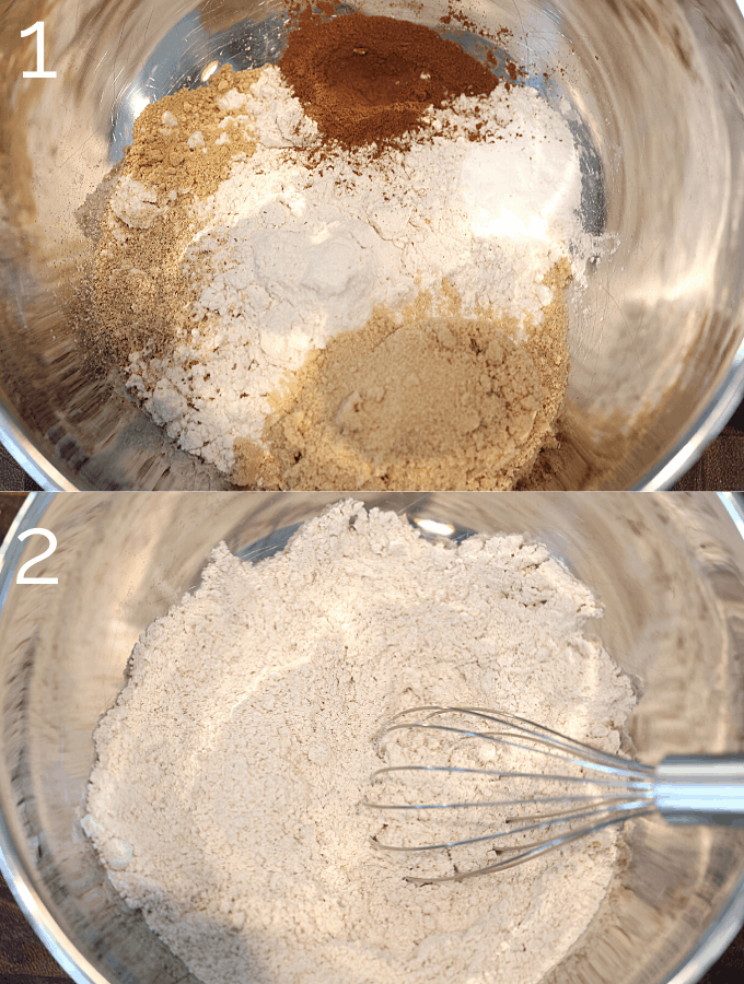 dry carrot cake  ingredients being mixed in a bowl