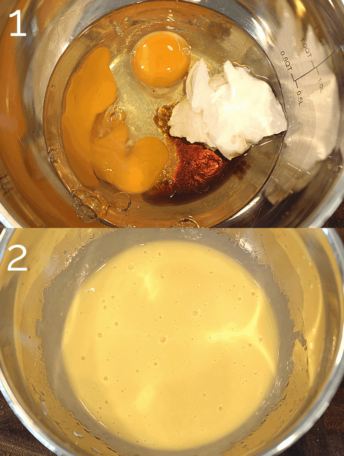 eggs, coconut oil, yogurt, being whisked in a bowl
