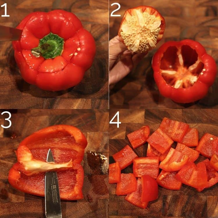 removing seeds from a bell pepper and cutting into squares on a cutting board