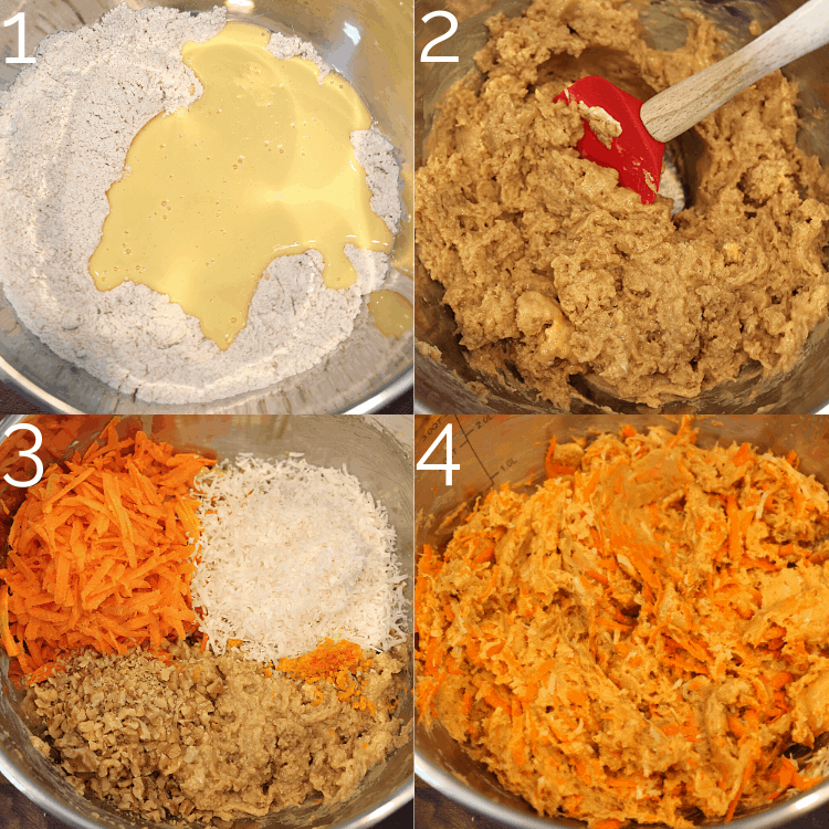 folding shredded carrot, walnuts, and coconut into carrot cake batter