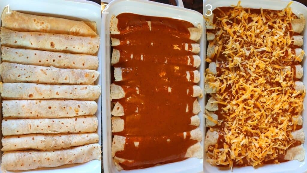enchiladas in baking dish pre-oven with enchilada sauce and cheese on top