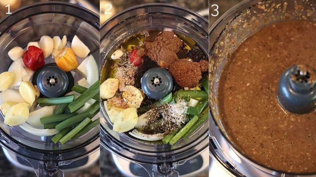 jerk marinade ingredients in a food processor being blended