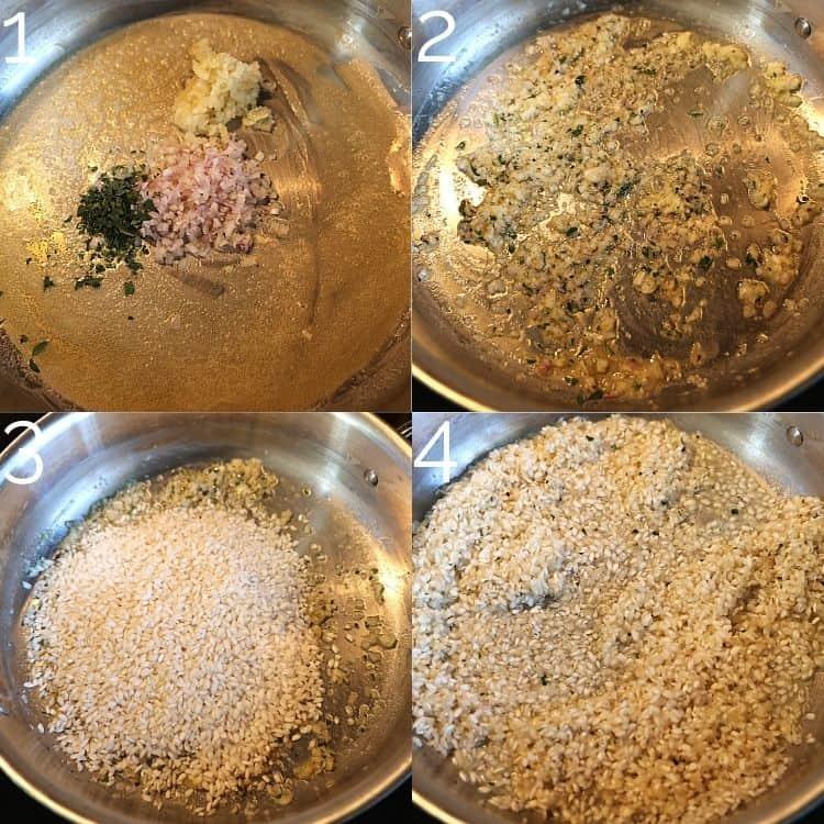 shallots, garlic, tarragon, and risotto rice in a pan