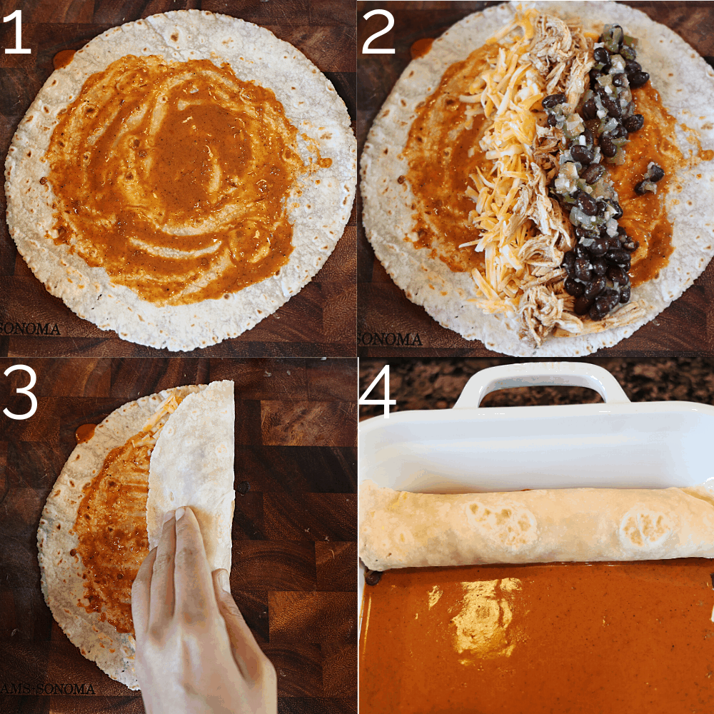 spreading enchilada sauce on a tortilla and stuffing it with chicken, beans and cheese