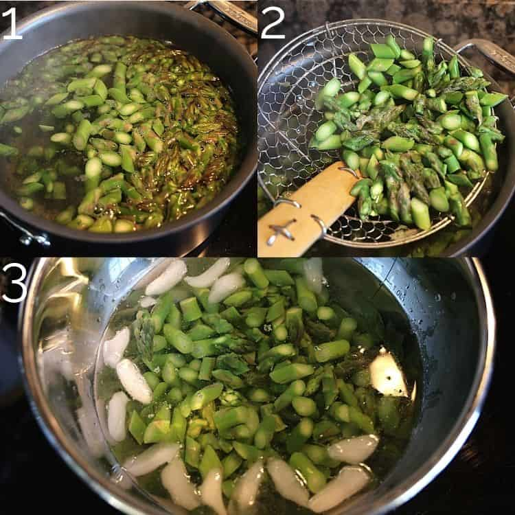 blanching asparagus and putting in an ice bath