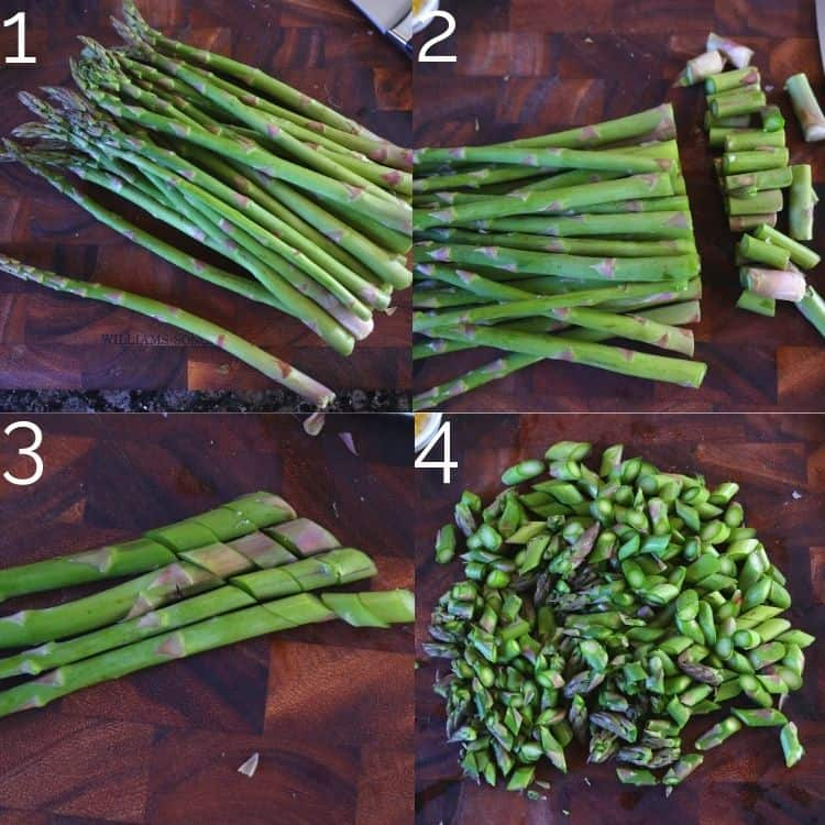 slicing asparagus into diagonals with a knife