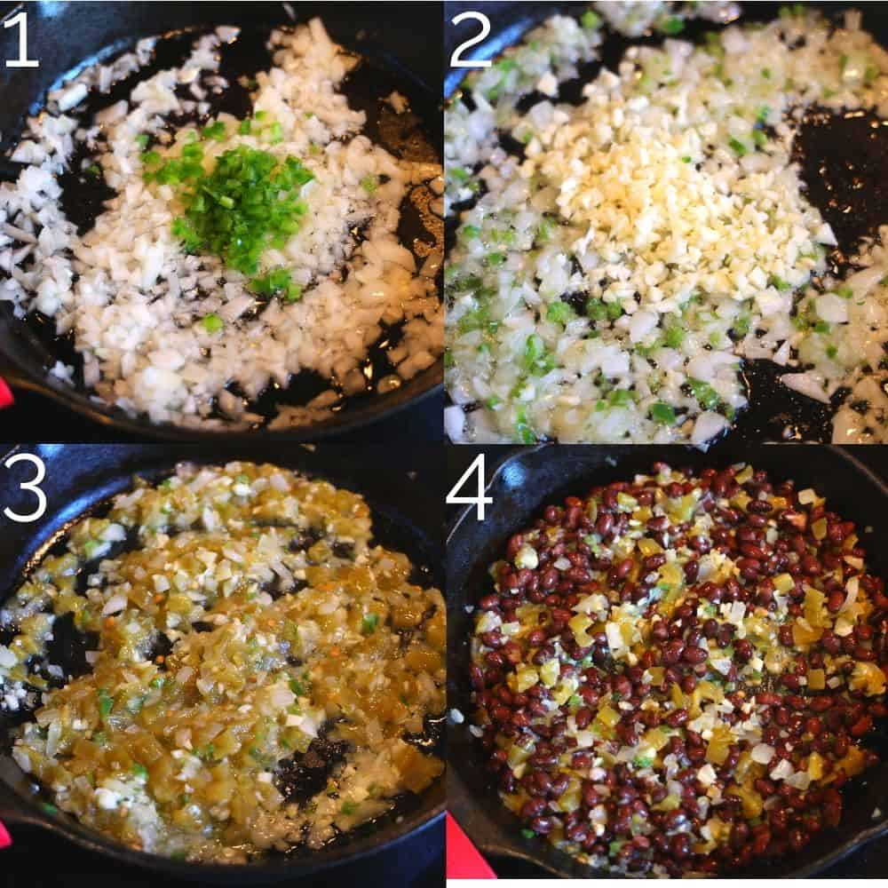 onion, jalapeno, hatch chilis and beans being mixed in a skillet