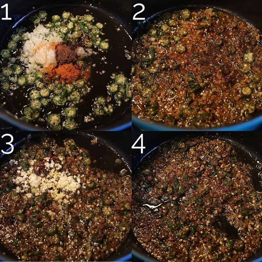fried okra in a dutch oven with all spice, onion, garlic, and ginger