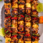 grilled jerk chicken skewers with grilled pineapple and scotch bonnets