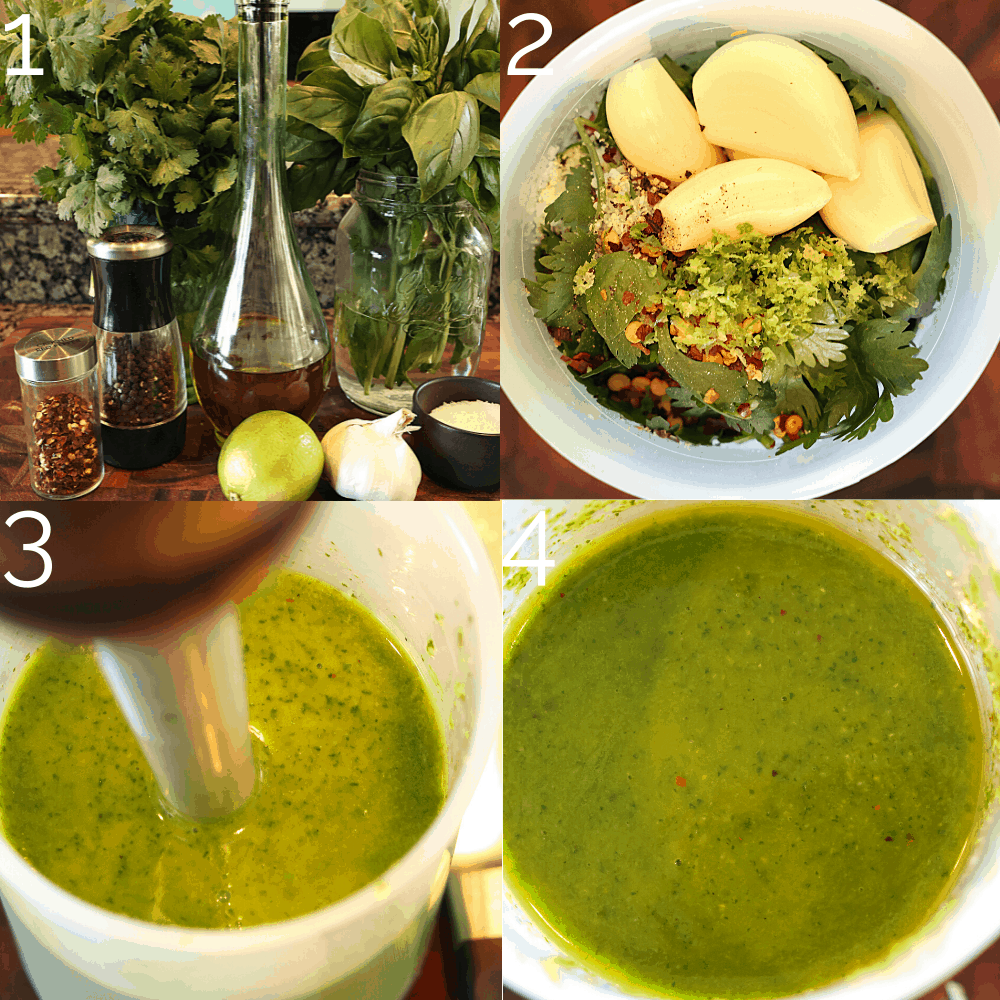 blending herb marinade with cilantro, basil, garlic, and lime in a cup
