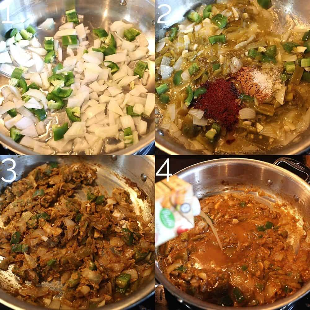 onions, hatch chiles, and spices in a saute pan