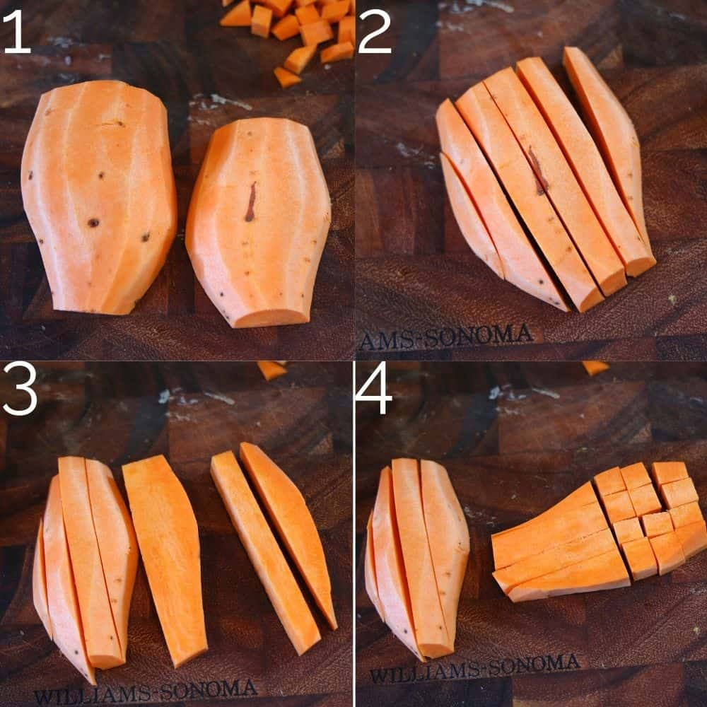steps on how to dice a sweet potato