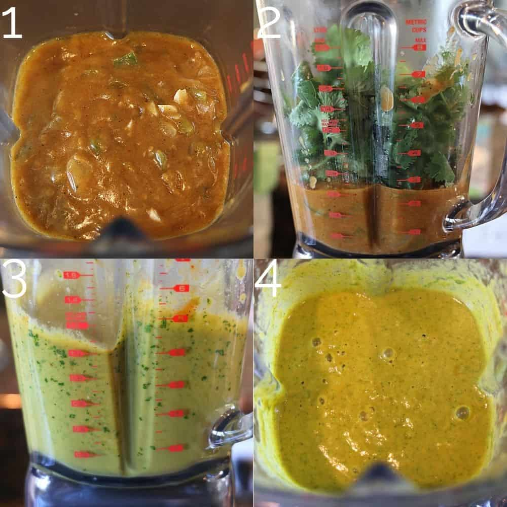 green enchilada sauce and cilantro being blended in a blender