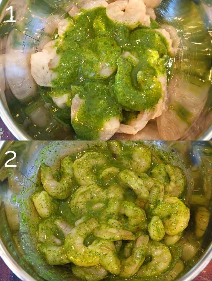 shrimp in metal bowl marinating in herb marinade