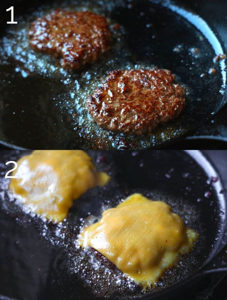 melting cheese on a burger on the cast iron