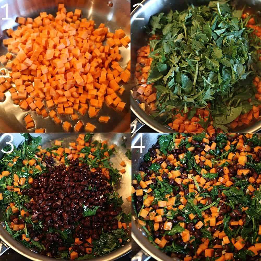 sweet potato, kale, and black beans being sautéed in a skillet