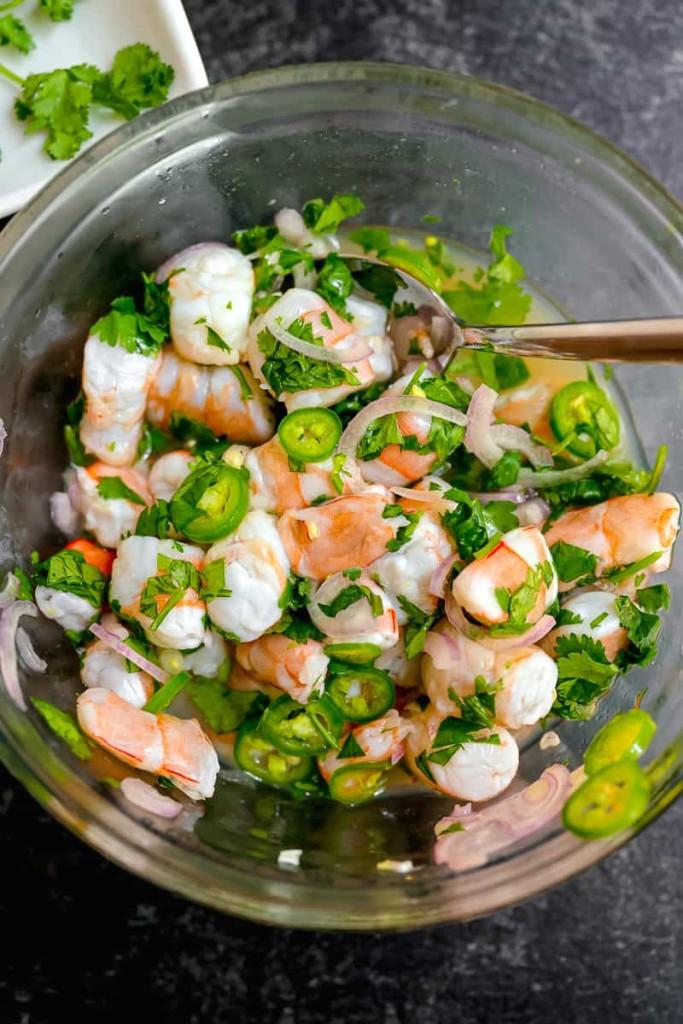 shrimp ceviche in a glass bowl