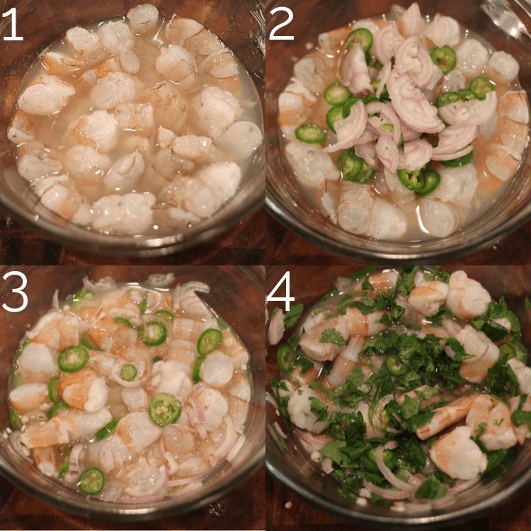 lime juice, shrimp, shallots, cilantro in a bowl in lime juice