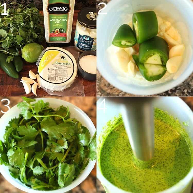 step-by-step blending aji verde sauce with immersion blender