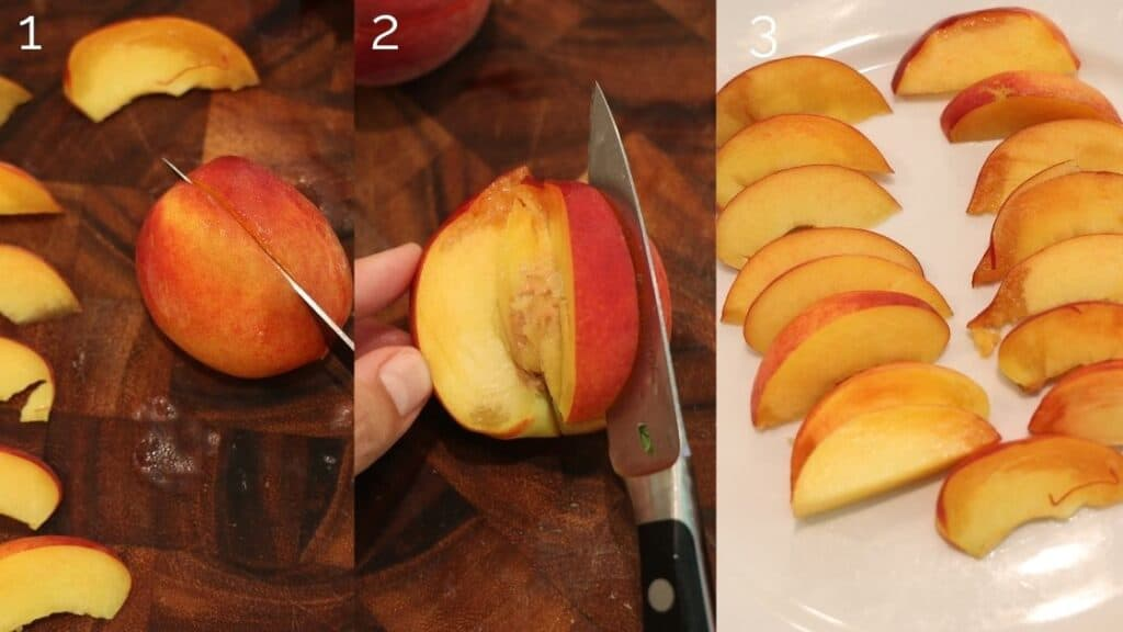 cutting peach into slices using pairing knife