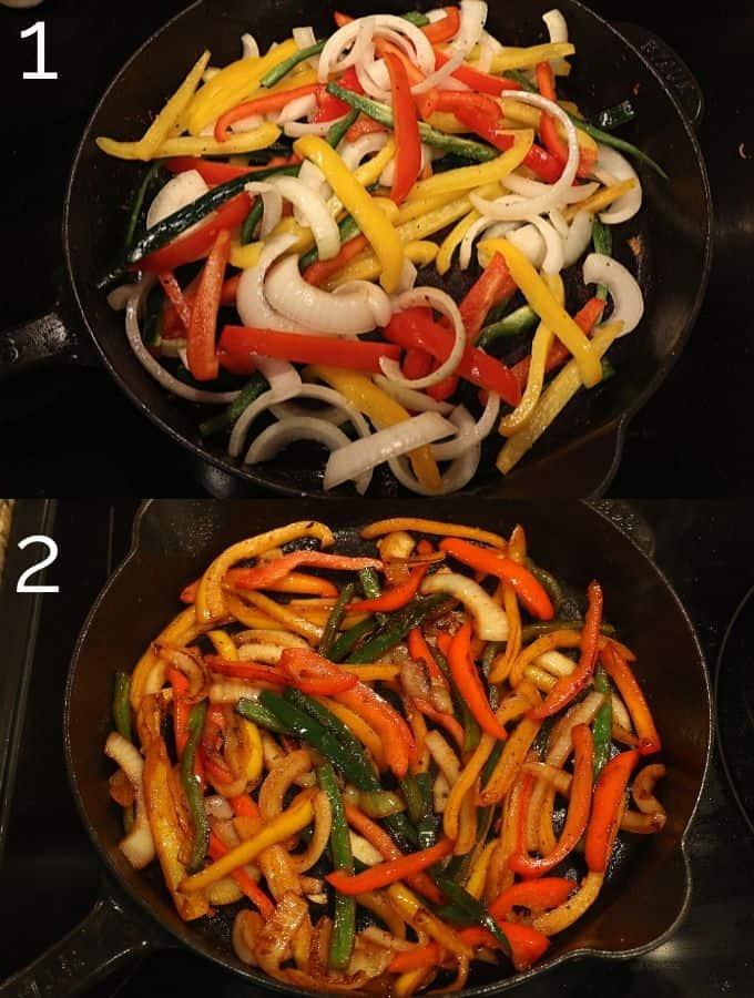 fajita veggies being cooked in cast iron skillet