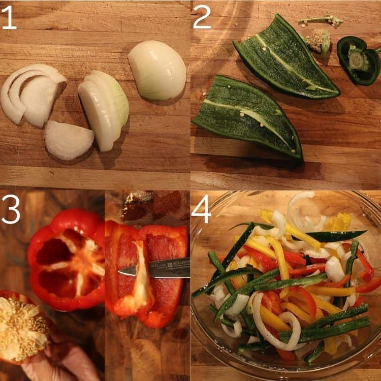 cutting bell peppers, poblano peppers, and bell peppers on cutting board