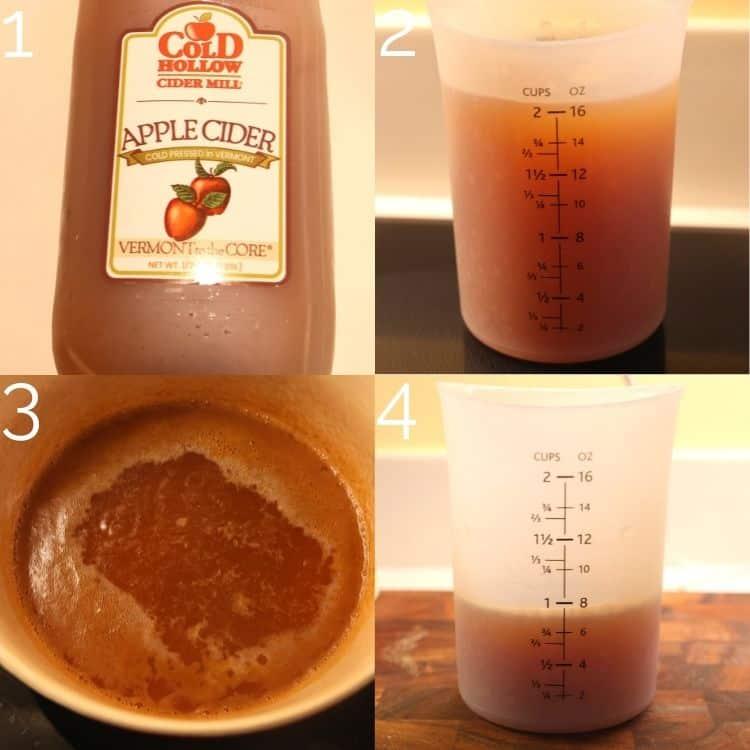 apple cider reducing in pot