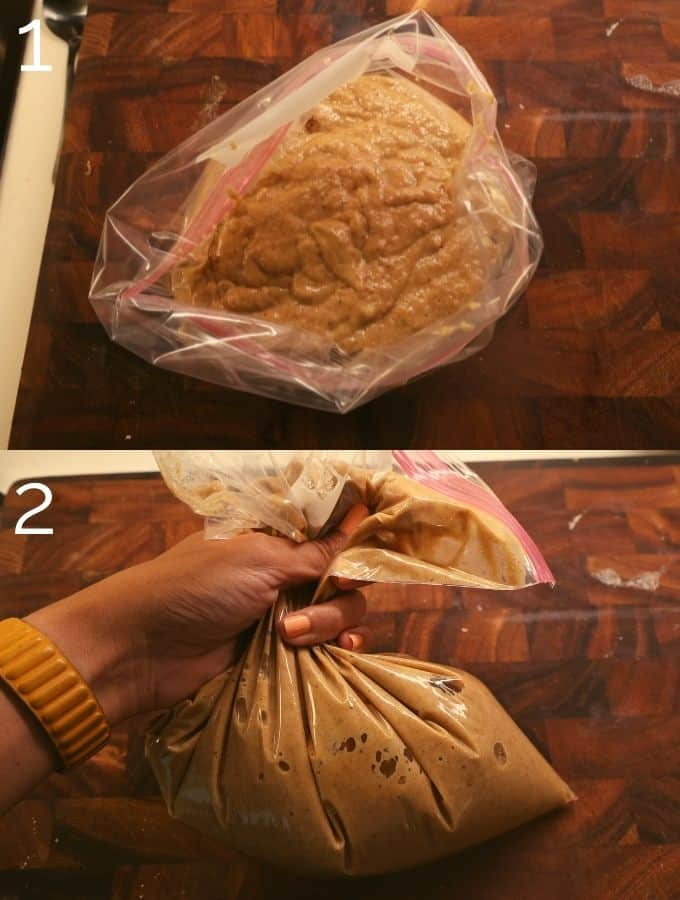 cider donut batter in a ziplock bag