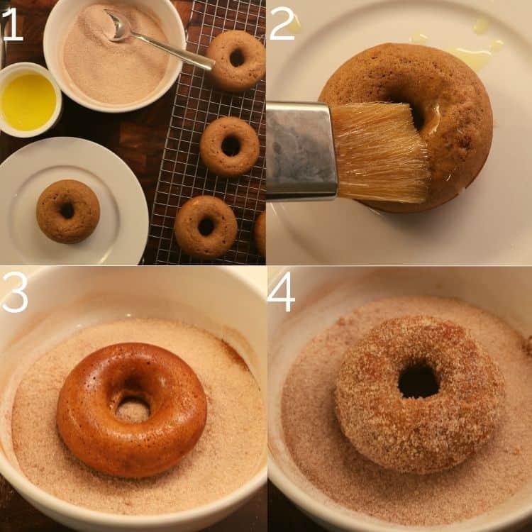 coating cider donuts in cinnamon sugar coating